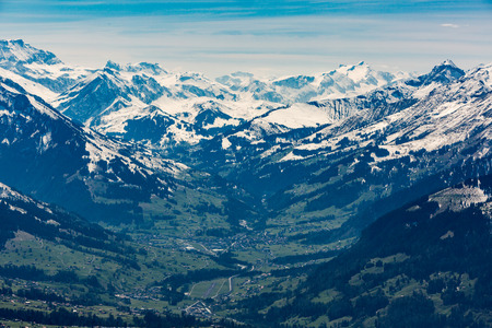 View from the Niederhorn montain summit to the Kandertal valley in the Bernese Alps