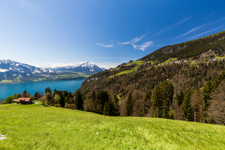 View from Beatenberg to the Lake Thun and the Niesen Mountain in the Swiss Bernese Alps Stock Photo