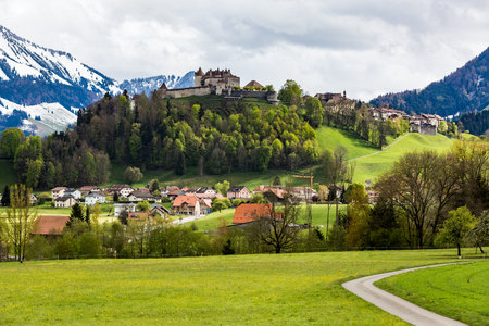 View of the Castle and Village Gruyeres in May 2017 in Switzerland Stock Photo
