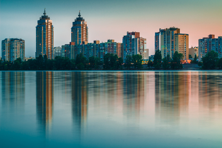 dniper: Night city reflected in river waters