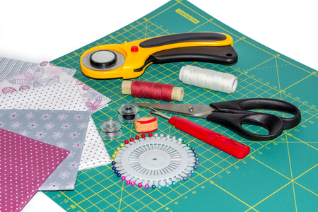 Composition of quilting instruments, items and fabrcs
