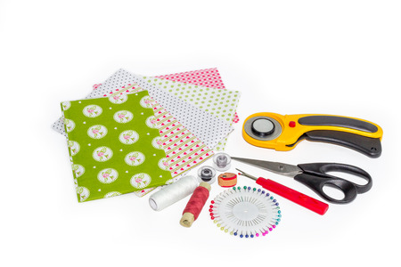 Composition of instruments, items and fabrics for quilting