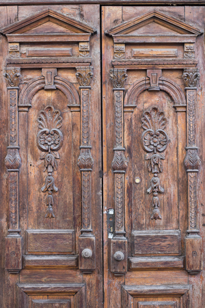 mangy: Ancient old entrance door looking like shabby chic texture background Stock Photo