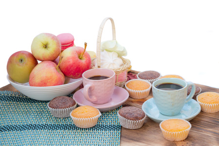 cafe bombon: Still life of served coffee cups, macaroon cookies, marshmallows and apples
