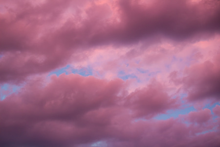 Colourful skyscape with versicolored purple clouds at sunset dusk