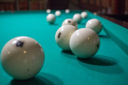 snooker tables: Close-up of Russian billiards game, ball, on green table cloth
