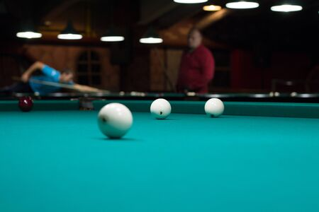 snooker tables: Russian billiards in club, balls on green game table cloth