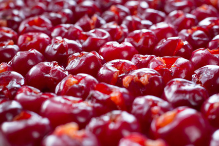 Background pattern of fresh mellow cherry berries prepared for cooking and sun drying for conservation