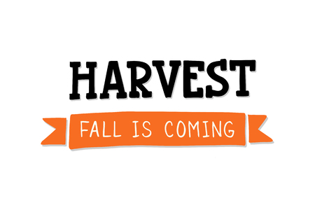 Harvest - handdrawn typography lettering. Harvest fest poster design. Autumn festival invitation. Fall party template. Vector illustration.
