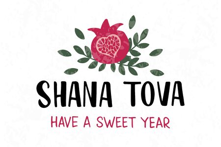 Shana Tova - handwritten modern lettering with pomegranate. Jewish New Year. Holiday banner design. Template for postcard or invitation card, poster, print. Vector illustration. Stock Illustratie