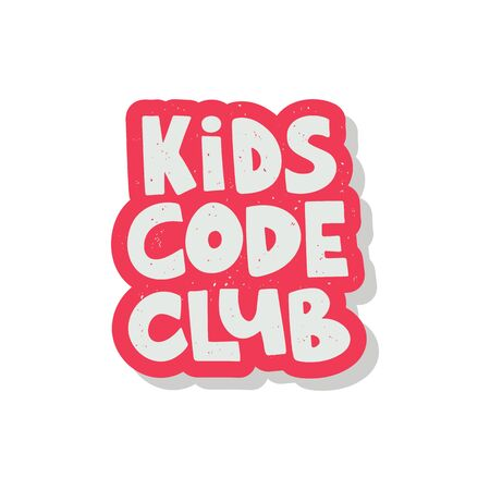 Kids code club hand drawn lettering. Concept of school coding for children. Vector illustration Vectores