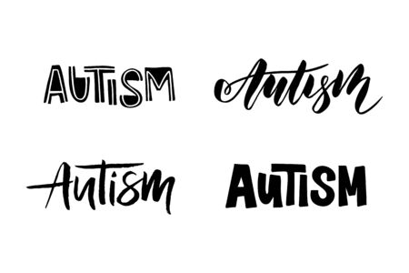Autism - hand drawn brush lettering. Design for poster, invitation, card, flyer, advertising, banner, web design. Vector illustration. Isolated on white background.