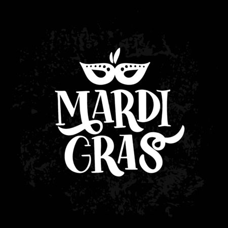 Mardi Gras. Celebration text for carnival with traditional symbol mask. Imagens - 128926396