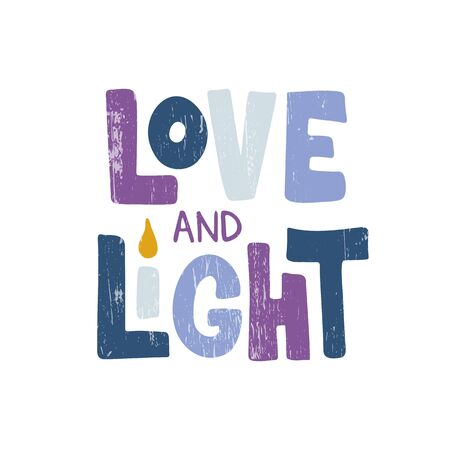 love and Light. Jewish holiday. Festive poster design. Template for banner, greeting card, flyer. Vector illustration