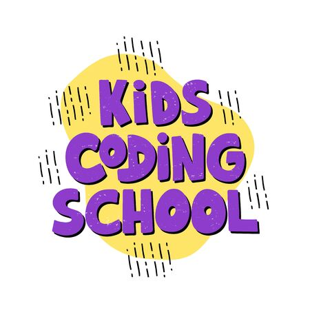 Kids coding school - hand drawn lettering on yellow background. Concept of coding children. Programming school logo. Vector illustration.