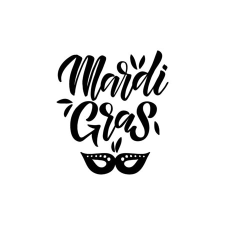 Mardi Gras. Celebration text for carnival with traditional symbol mask.