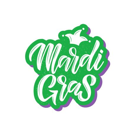 Mardi Gras. Text for carnival with traditional symbol mask. Element for logo, sticker, banner, badge, flyer, greeting card, Vector illustration isolated on white background. Imagens - 128927121