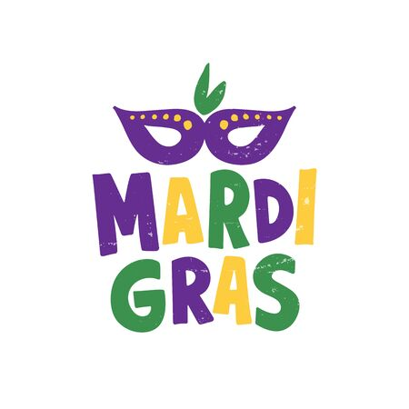 Mardi Gras. Celebration text for carnival with traditional symbol mask. Element for logo, banner, flyer, greeting card. Vector illustration isolated on white background. Imagens - 128927131
