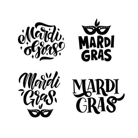 Mardi Gras carnival. Design element for logo, banner, flyer, greeting card, Vector illustration isolated on white background. Ilustração