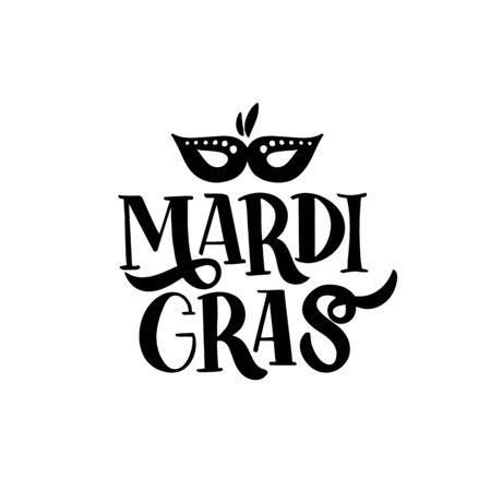 Hand drawn brush lettering Mardi Gras. Fat or Shrove Tuesday poster.