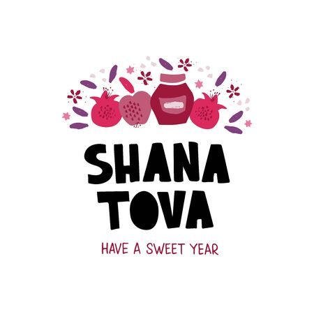 Shana Tova desserts flat vector banner template. Jewish New Year celebration lettering.