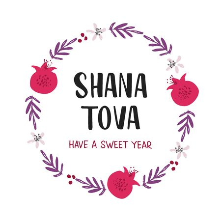 Shana Tova holiday flat vector banner template. Pomegranates, flowers, branches round frame. Rosh Hashanah celebration botanical border with lettering, postcard, poster design element