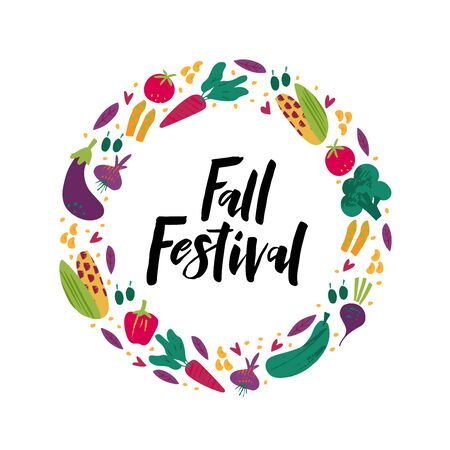 Fall festival flat vector banner template. Black ink hand drawn lettering. Decorative vegetables doodle sketch. Celebrating harvest gathering fest, festival poster, postcard design element