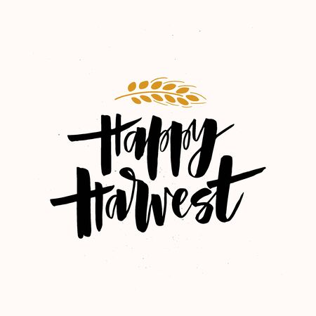 Happy harvest handwritten black brush lettering. Harvesting season wish text with decorative wheat spikelet. Crops gathering greeting card inscription. Farming industry poster design element
