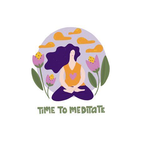 Ilustración de icono plano de mujer meditando. Es hora de meditar las letras.