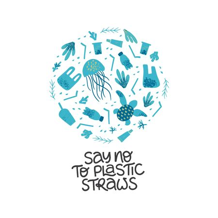 Say no to plastic straws black lettering. Waste contamination and water pollution poster design template. Disposable garbage and sea, ocean animals. Zero waste and plastic free lifestyle slogan