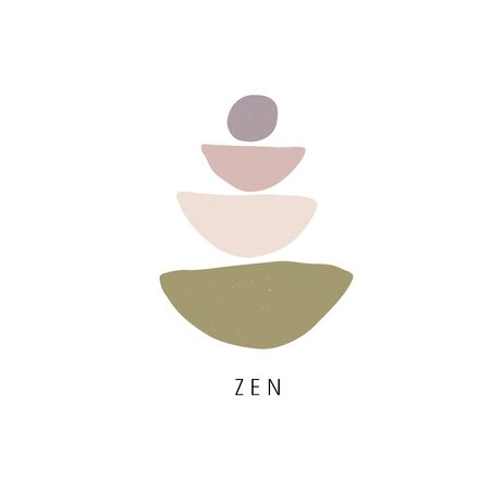 Zen stones flat illustration. Creative geometric shape pebble pyramid isolated on white background. Spa rocks color drawing. Stylish print, t shirt design element. Balance and harmony concept Vettoriali