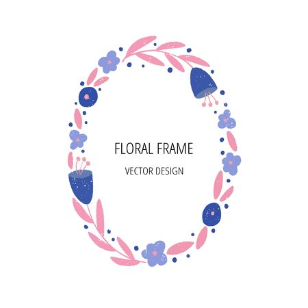 Floral flat frame template with text space. Spring holiday greeting card.