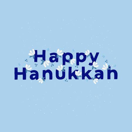 Happy Hanukkah celebration typography. Jewish holiday. Hanuka festive decorative text