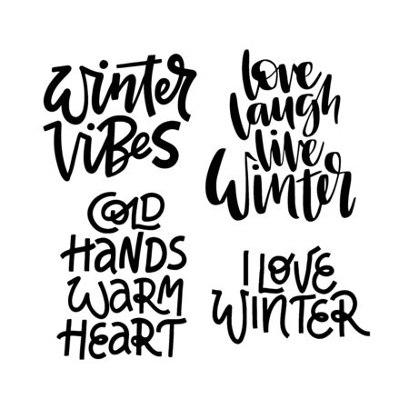 Winter phrases vector letterings set. Winter vibes, love winter, cold hands warm heart hand drawn sayings. Inspiring quotes collection for t shirt print design
