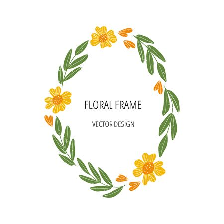 Floral flat frame template with text space. Holiday card design