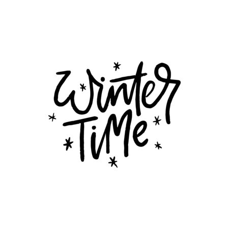 Winter time social media banner vector template. Wintertime postcard, festive greeting card