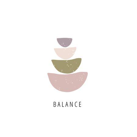 Balance stones flat vector illustration. Creative geometric shape pebble pyramid