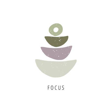 Balance, mindfulness concept. Zen stones flat vector illustration