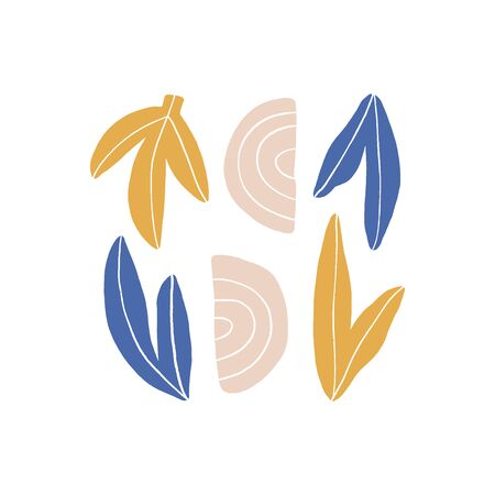 Abstract modern art composition hand drawn vector illustration. Minimalistic leaves and colorful shapes isolated on white background. Stylish minimalistic doodle drawing, artistic design element Ilustração