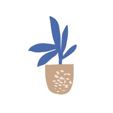 House plants hand drawn illustration. Abstract trendy shape. Interior design elements
