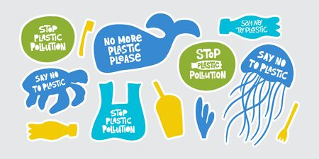 Stop plastic pollution word stickers set. Environment pollution, ecological problem.