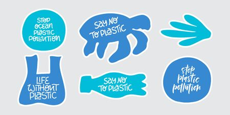 Stop plastic pollution word stickers set. Environment pollution, ecological problem