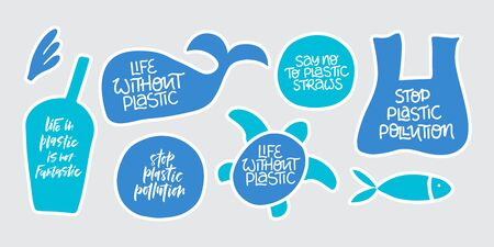 No more plastic word stickers set. Environment pollution, ecological problem isolated vector illustrations. Planet protection idea. Whale, turtle, fish swimming in garbage clipart