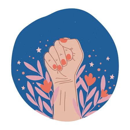 Woman hand with clenched fist. Feminism concept design. Girl power symbol. Womens rights poster, banner. Flat vector illustration for International Womens day.