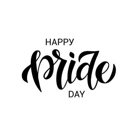 LGBT vector illustration. Happy Pride day hand drawn modern lettering.