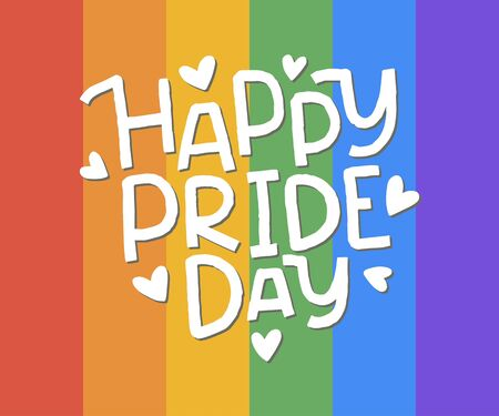 LGBT vector illustration. Happy Pride day hand drawn lettering. Concept for pride community.