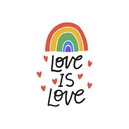 LGBT community vector illustration. Hand drawn lettering phrase with rainbow. 矢量图像