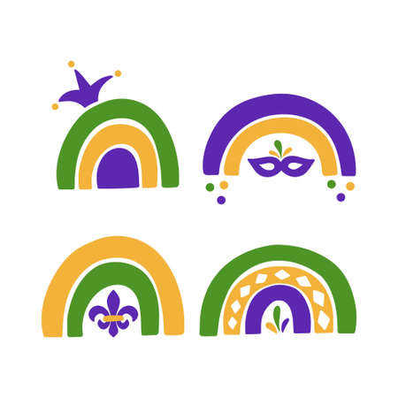 Mardi Gras traditional carnival. Fat Tuesday holiday vector illustration