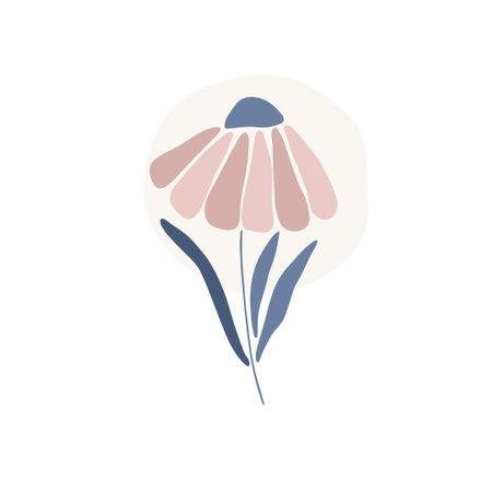 Daisy flower silhouette. Marguerite flat vector illustration