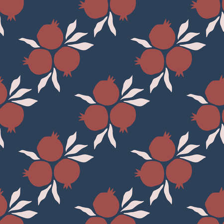 Pomegranate hand drawn illustration. Vector seamless pattern. Ripe pomegranate and leaves on white background.